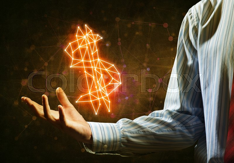 Stock image of 'Close of businessman hand showing in palm glowing dollar sign'
