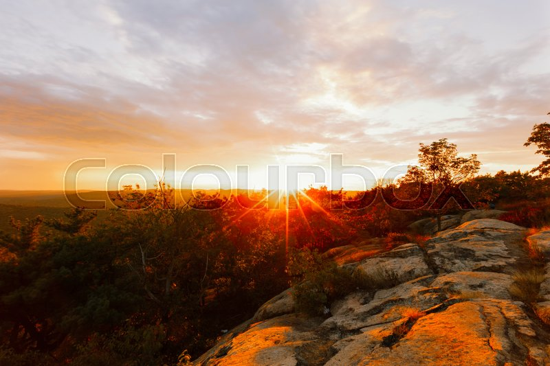Stock image of 'View of sunset on a mountain top.'