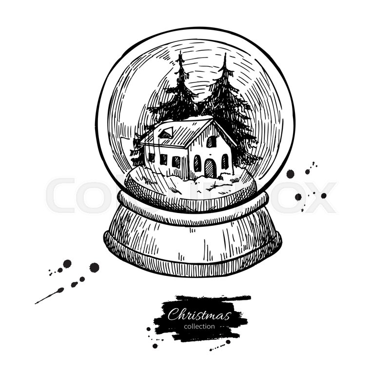 Snow Globe With House And Fir Tree Inside Christmas Vector Hand Drawn Illustration Holiday Card Vintage Decor Element