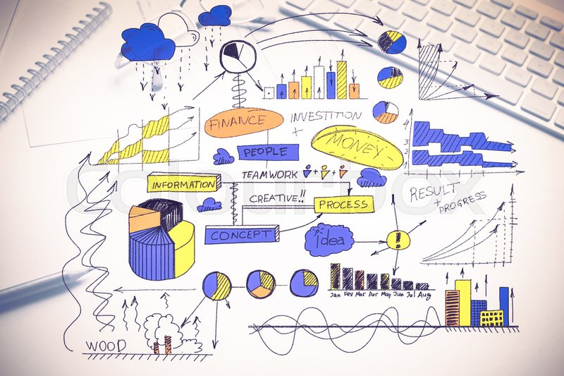 Stock image of 'Color business strategy sketch on white background'