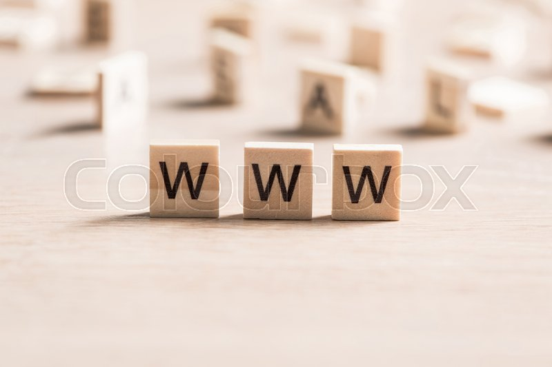 Stock image of 'Internet media conceptual word collected of wooden elements with the letters'