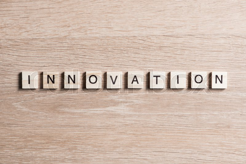 Stock image of 'Concept of innovation made of wooden elements with the letters'