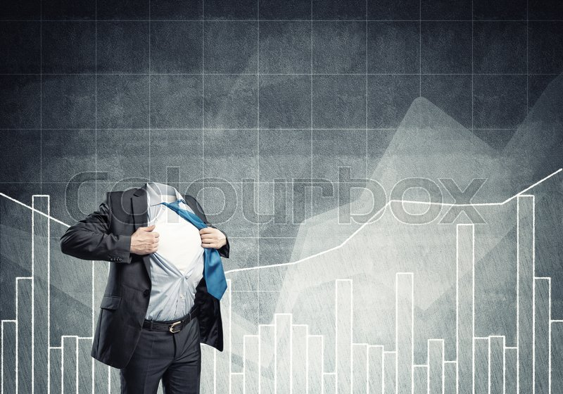 Stock image of 'Headless businessman in black suit acting like super hero'