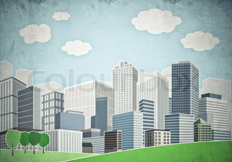 Stock image of 'Illustration of cityscape with fancy buildings and skyscrapers'