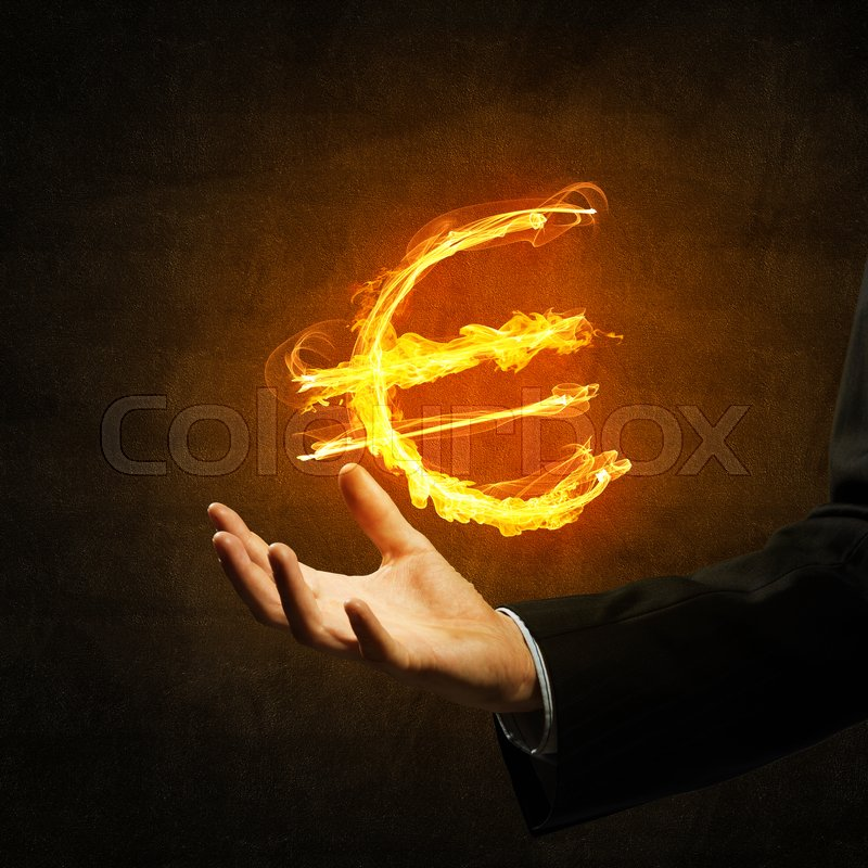 Stock image of 'Close of businessman hand showing in palm glowing euro sign'