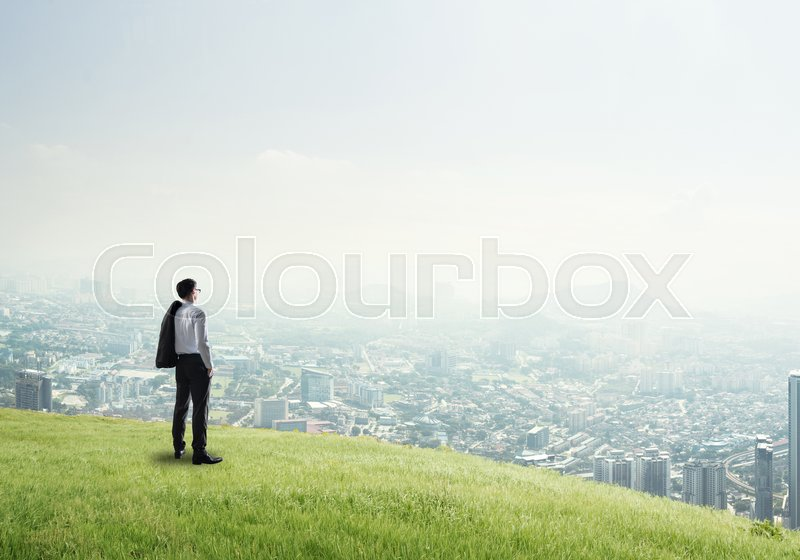 Stock image of 'Businessman standing with back on top of hill and viewing modern city'