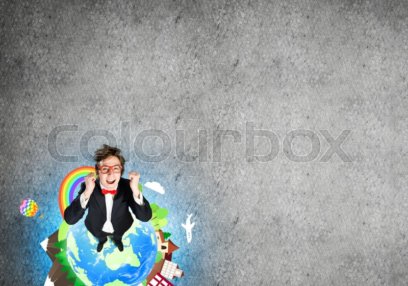 Stock image of 'Top view of funny businessman in red glasses celebrating success. Elements of this image are furnished by NASA'