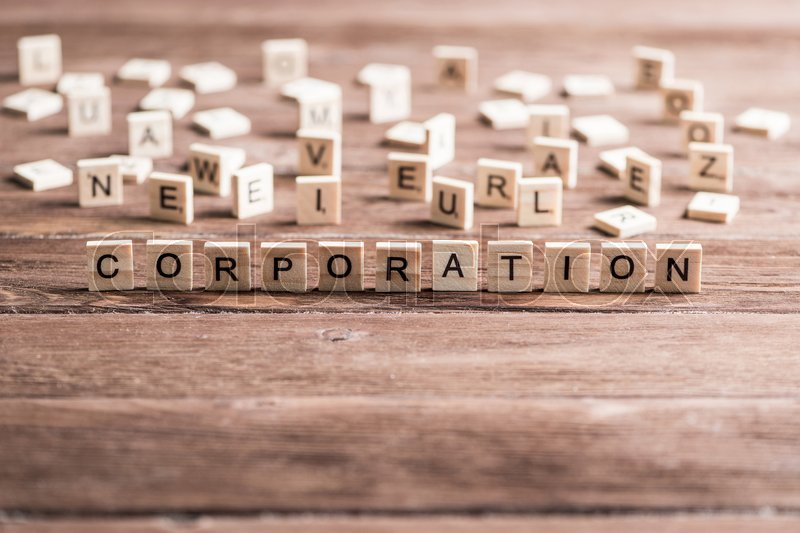 Stock image of 'Business company conceptual word collected of elements of wooden elements with the letters'