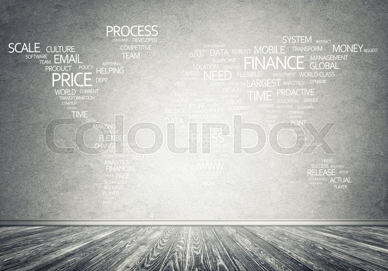 Stock image of 'Concept of global business with world map on concrete wall'
