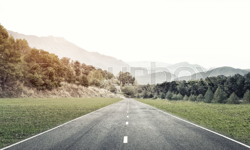 Stock image of 'Natural summer landscape with asphalt road to horizon'