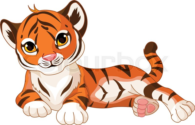 d57c7a902 Illustration of cute baby tiger lies | Stock vector | Colourbox