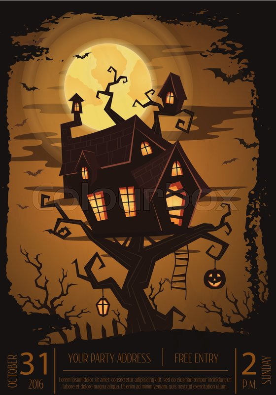 halloween party banner with spooky castle on tree in mystic forest at night under full moon cartoon vector illustration halloween background night scene