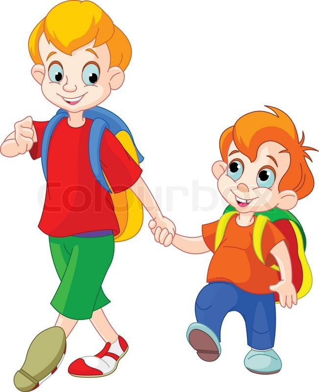 Illustration of two brothers go to ... | Stock vector ...