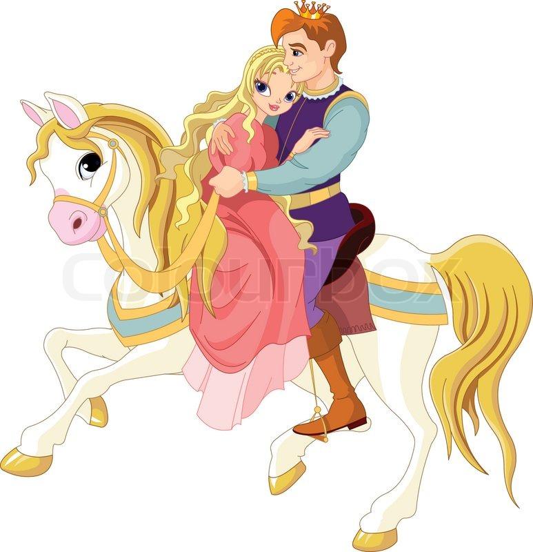 Stock vektor af prins og prinsesse på hvidt hest
