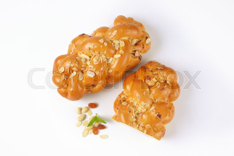 Stock image of 'Czech Christmas sweet yeast bread with almonds and raisins'