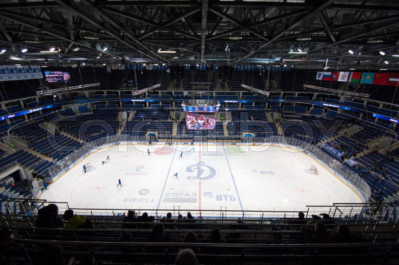 Editorial image of 'MOSCOW, RUSSIA - OCTOBER 12, 2016: Interior of VTB ice arena just before hockey game Dynamo Moscow vs Slovan Bratislava on Russia KHL championship. Slovan won 5:3'