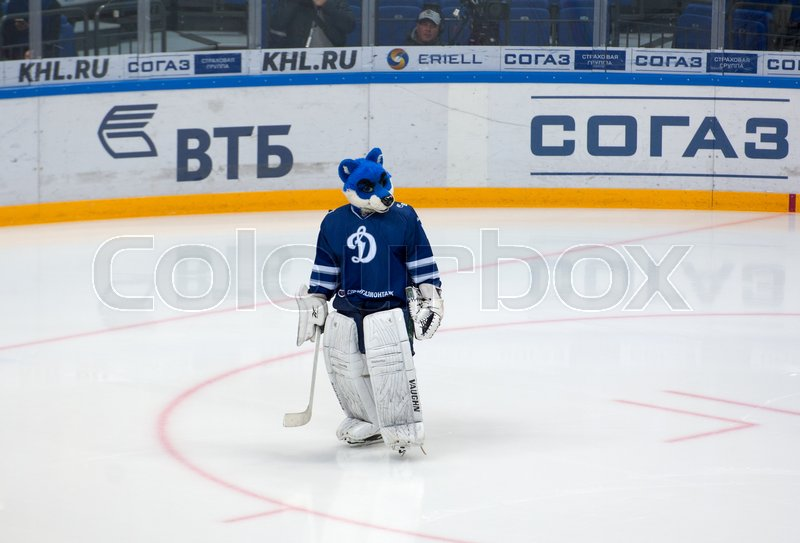 Editorial image of 'MOSCOW, RUSSIA - OCTOBER 12, 2016: Mascot of Dynamo Moscow team on hockey game Dynamo Moscow vs Slovan Bratislava on Russia KHL championship. Slovan won 5:3'
