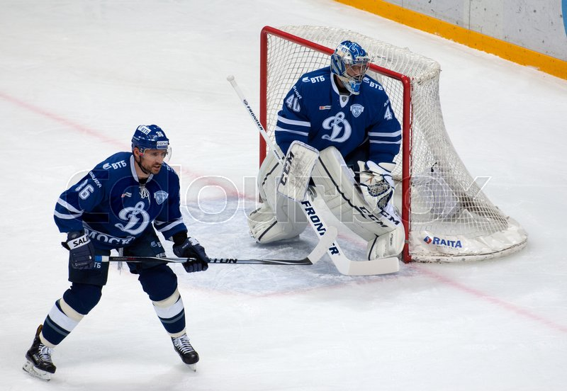 Editorial image of 'MOSCOW, RUSSIA - OCTOBER 12, 2016: Y. Rykov (36) and A. Lazushin (40) defend the gate hockey game Dynamo Moscow vs Slovan Bratislava on Russia KHL championship. Slovan won 5:3'