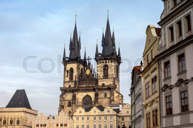 Stock image of 'St. Teyn gothic cathedral in Prague old town'