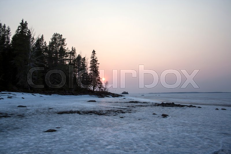 Stock image of 'Beautiful landscape of winter sunset'