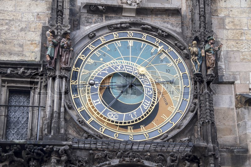 Stock image of 'Clock tower in old town square of Prague '