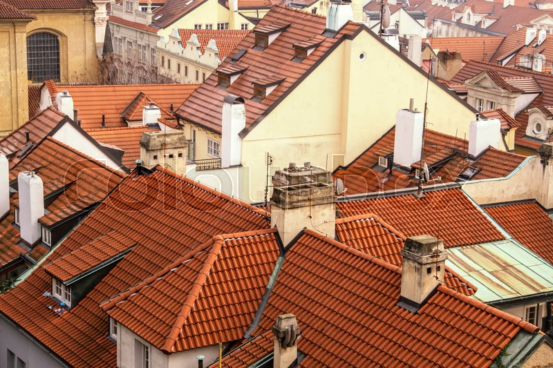 Stock image of 'Red roof of buildings in Prague '