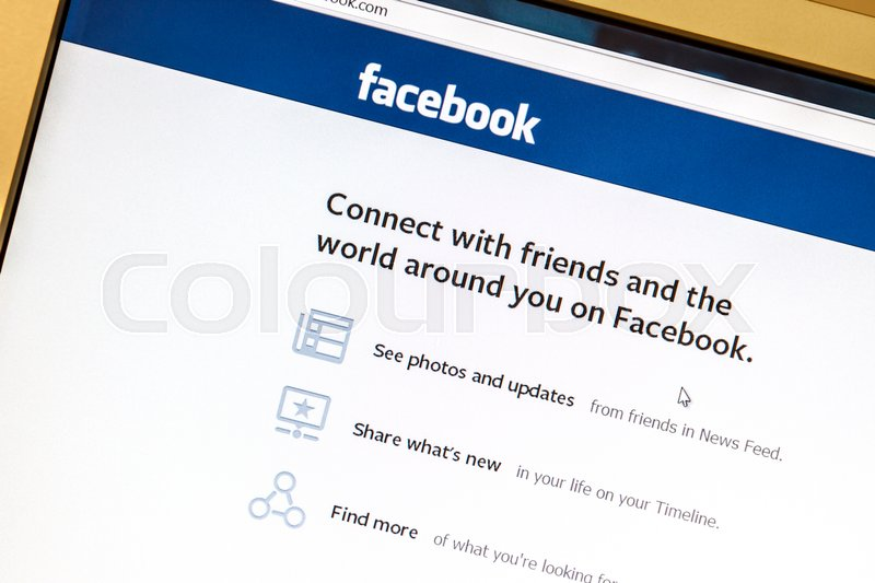 Editorial image of 'Ostersund, Sweden -August 2, 2014: Facebook website displayed on a computer screen. Facebook is the largest social media network on the web,'