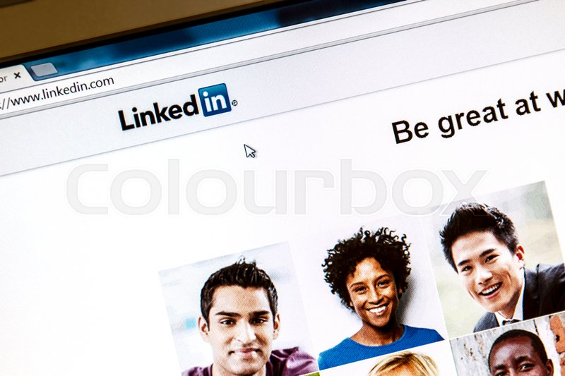 Editorial image of 'OSTERSUND, SWEDEN -August 3, 2014: Linkedin webpage on a computer screen. Linkedin is a business oriented social networking website. '