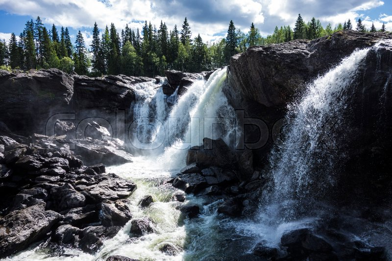Stock image of 'Beautiful mountain waterfall in Sweden'