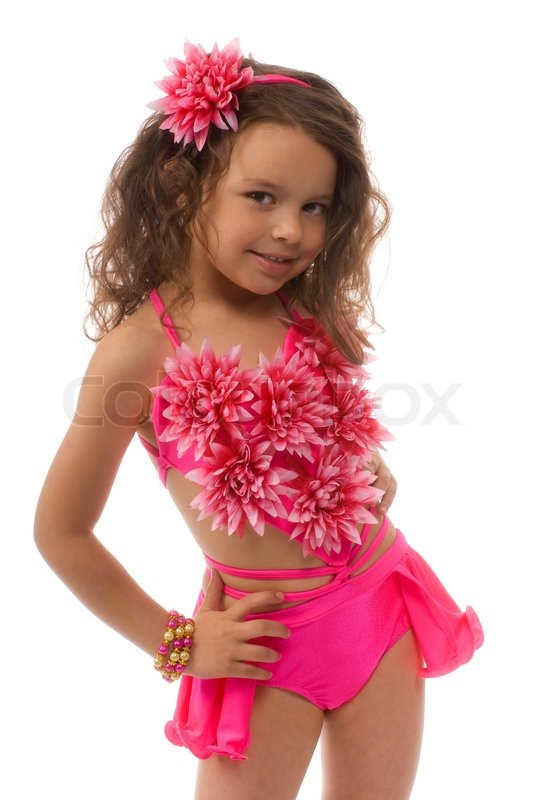 Little Girl In The Pink Bathing Suit Flower