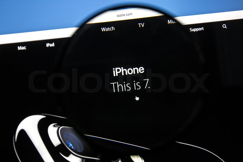Editorial image of 'Ostersund, Sweden - Sep 8, 2016: Apple.com website under a magnifying glass. The new iPhone 7 was announced on September 7 in San Francisco.'