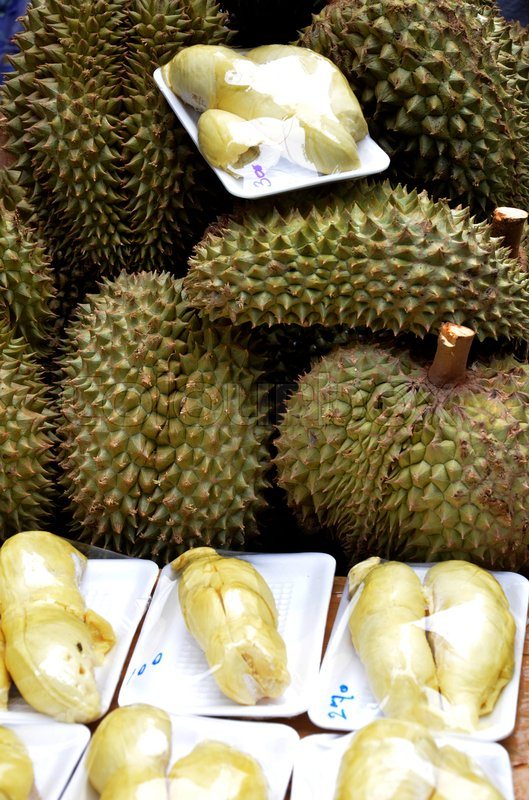 Stock image of 'Fresh peeled durian at the street market'