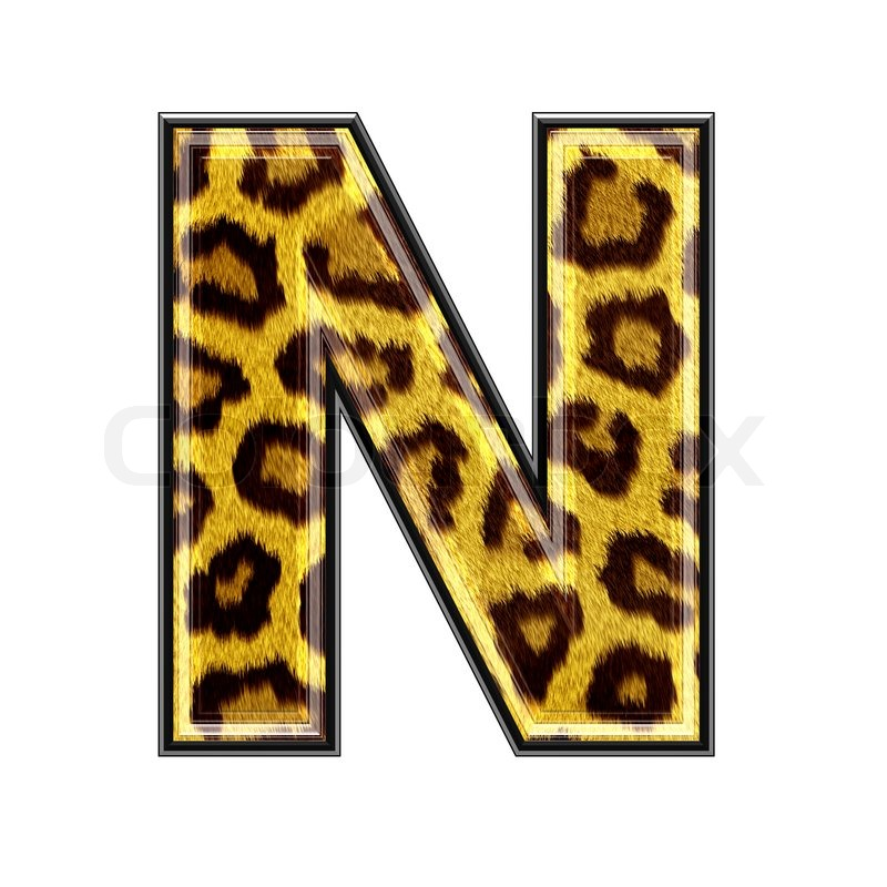... 3d letter with panther skin texture - N ...