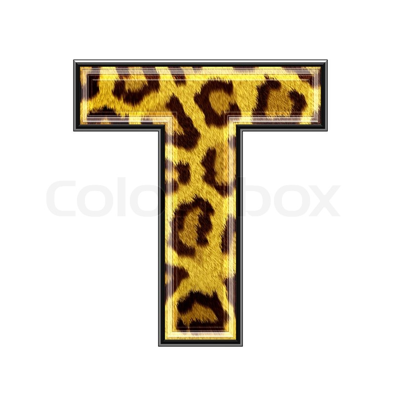 3d Letter With Panther Skin Texture T Stock Photo Colourbox