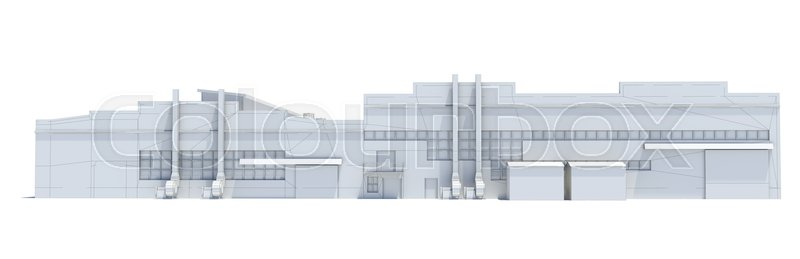 Stock image of 'Hangar building. White wire-frame. Isolated on white, 3D Illustration'