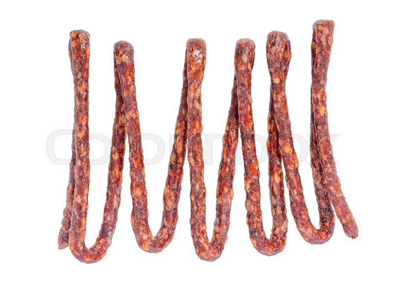 Stock image of 'Tasty delicious dried bundle red sausages, salami is isolated on white background, close up'