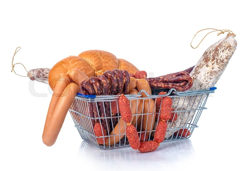 Stock image of 'Assortment of tasty delicious dried and boiled sausages in shopping food basket is isolated on white background, close up'