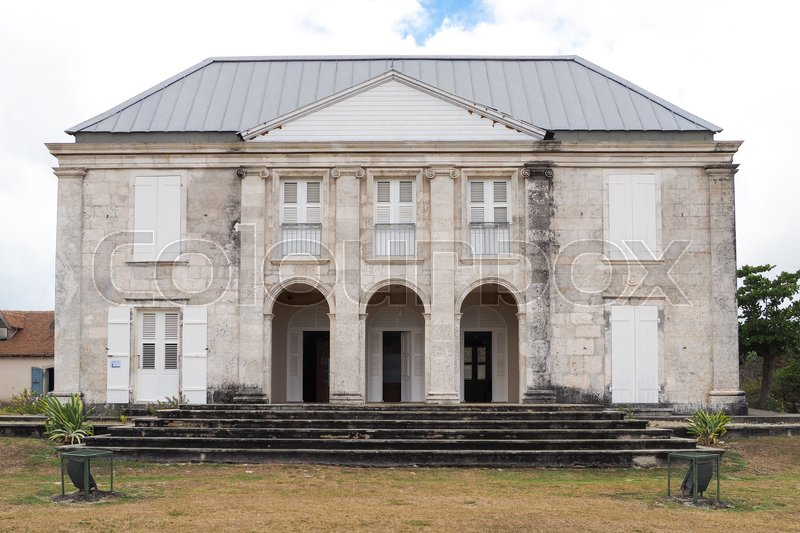 Stock image of 'Facade of Habitation Murat in Marie Galante, ancient slaves house and sugar factory'