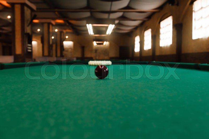 Stock image of 'Billiard table with balls prepared for play'