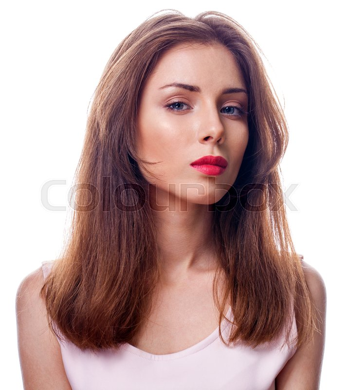 Stock image of 'Beautiful brunette woman face close up portrait studio isolated on white background'
