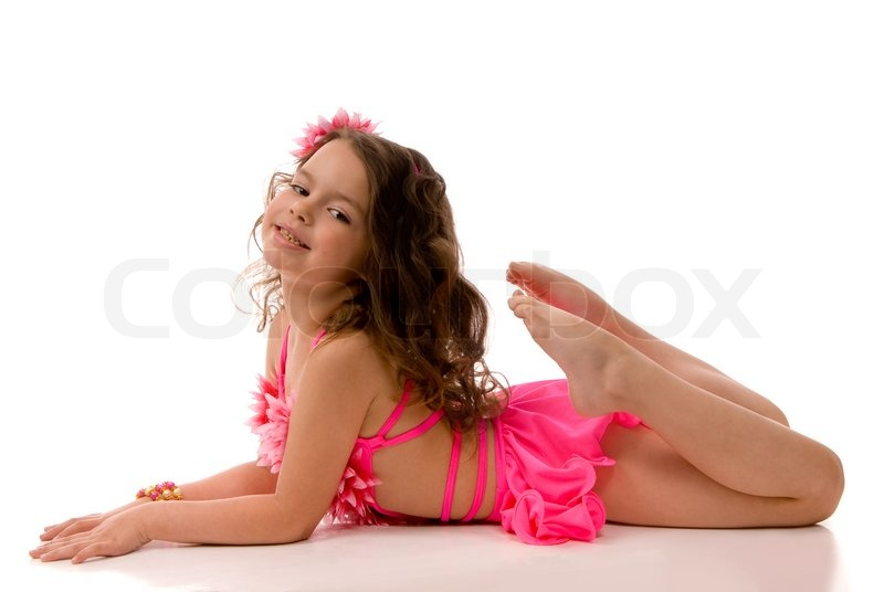 Little Girl In The Pink Bathing Suit Lying On The Floor