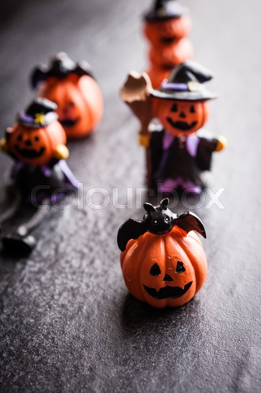 Stock image of 'Halloween pumpkin decoration on black background'