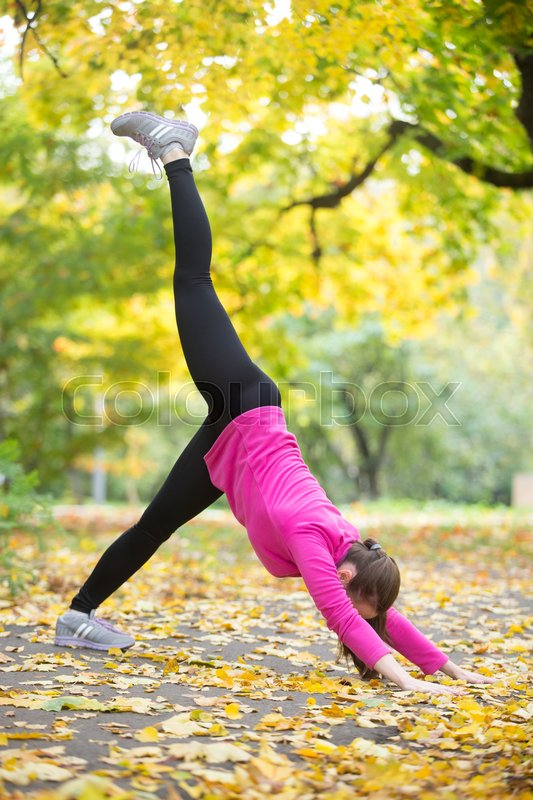 Stock image of 'Sporty beautiful young woman practicing yoga, doing one-legged downward facing dog pose, eka pada adho mukha svanasana, doing everyday morning routine, working out outdoors on autumn day. Full length'