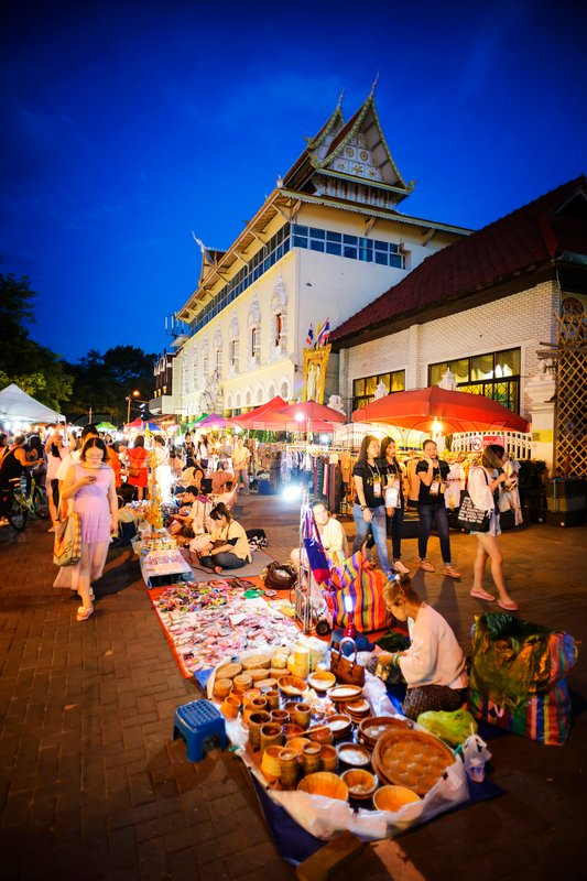 Editorial image of 'CHIANG MAI THAILAND - OCTOBER 9, 2016 : Sunday market walking street, The city center Thai temple marketing and trading of local tourists come to buy as souvenirs. this market is held every sunday'