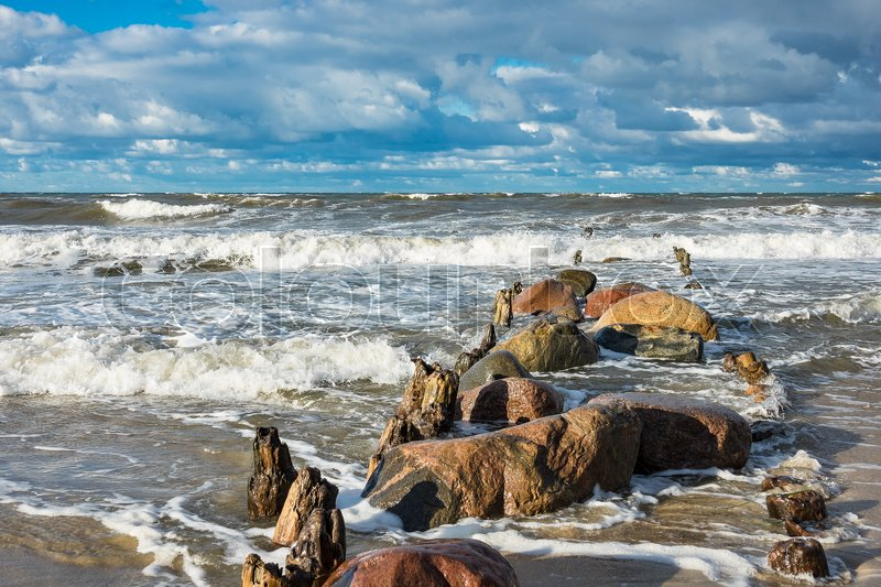 Stock image of 'Groynes on shore of the Baltic Sea.'