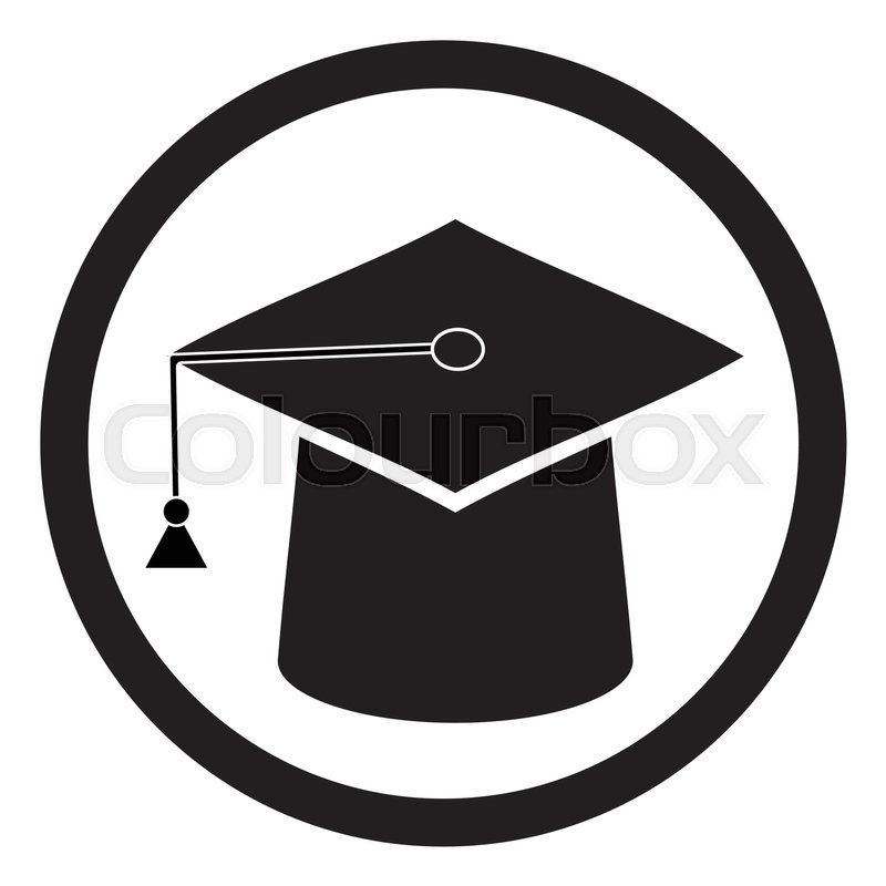 Education hat black white. Graduation hat and education icon, box ...