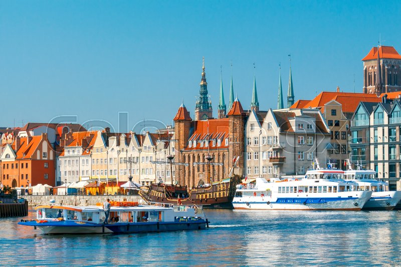 Stock image of 'Central Embankment Gdansk and old Motlawa river.'