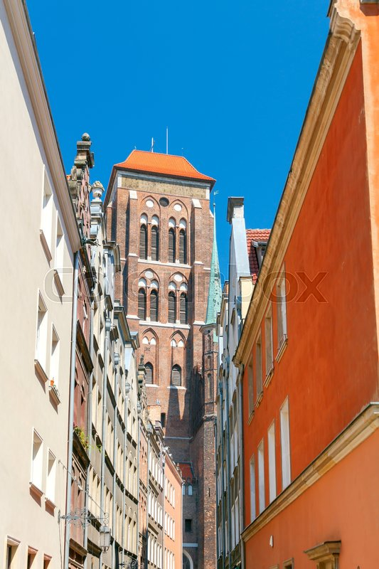 Stock image of 'Facades of medieval houses in the historic center of the old town. Gdansk. Poland.'