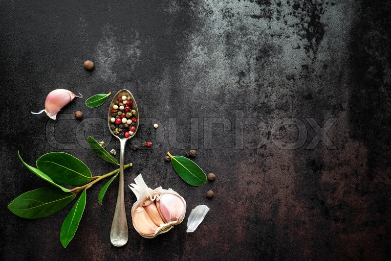 Stock image of 'Dark vintage metal culinary background top view'