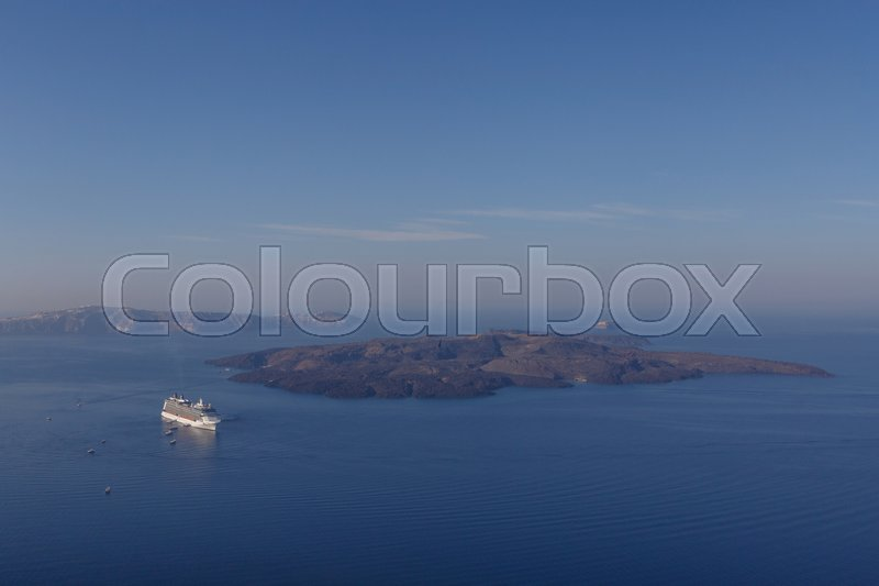 Stock image of 'View on caldera of Santorini from Firostefani'